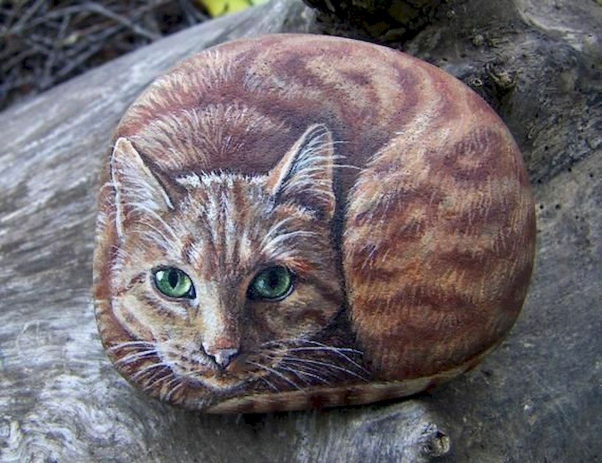 50 Best DIY Painted Rocks Animals Cats for Summer Ideas (24)