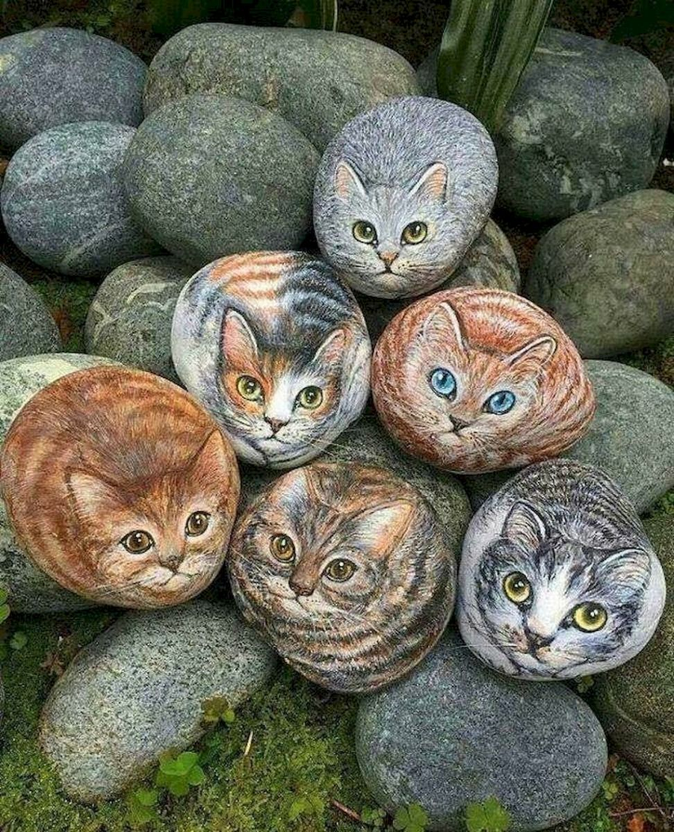 50 Best DIY Painted Rocks Animals Cats for Summer Ideas (33)
