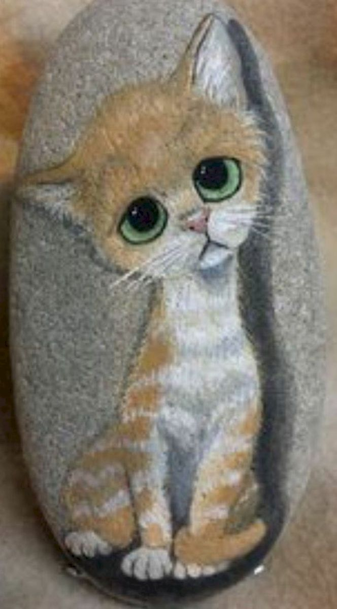 50 Best DIY Painted Rocks Animals Cats for Summer Ideas (39)