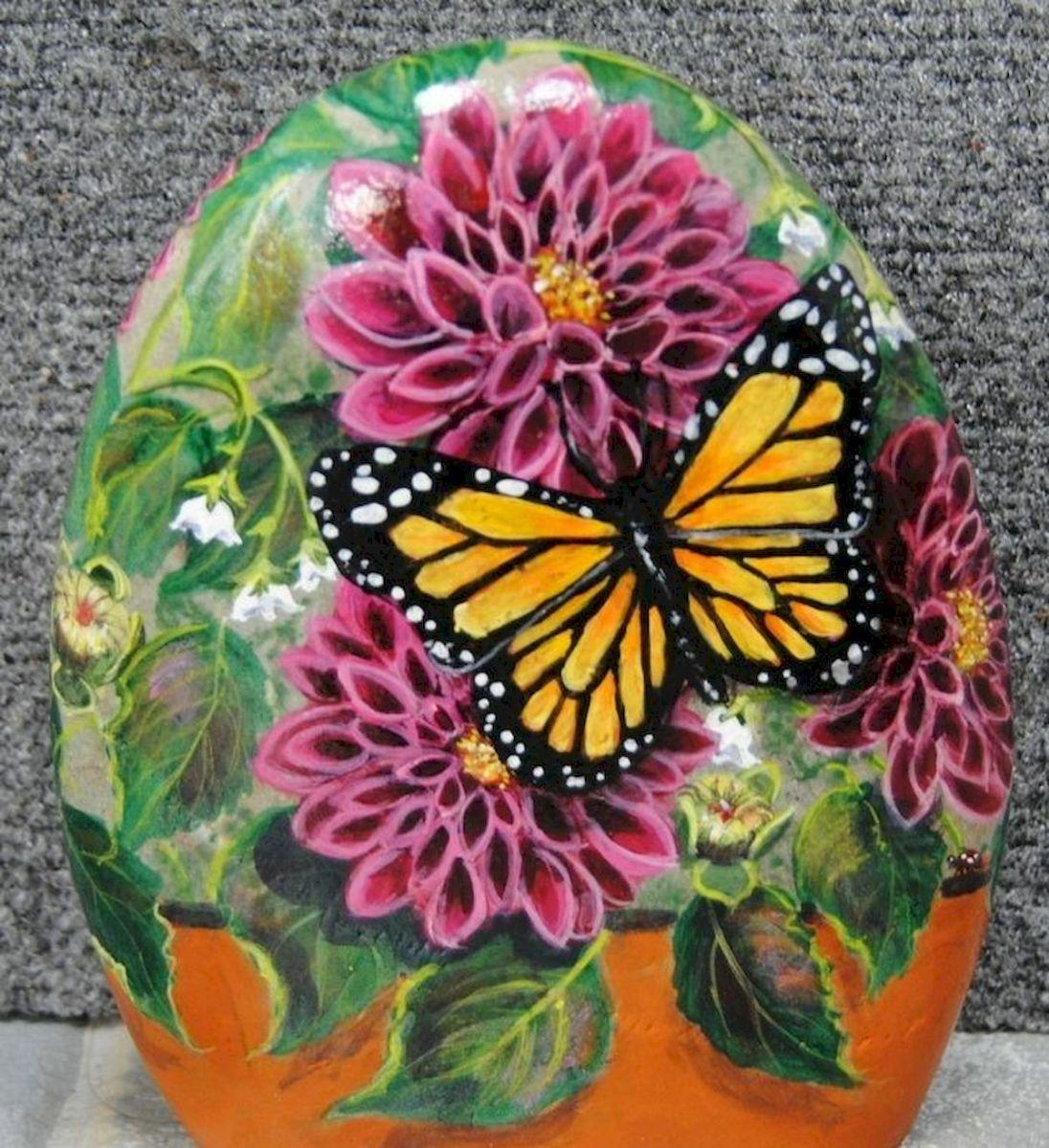 55 Cute DIY Painted Rocks Animals Butterfly Ideas (12)