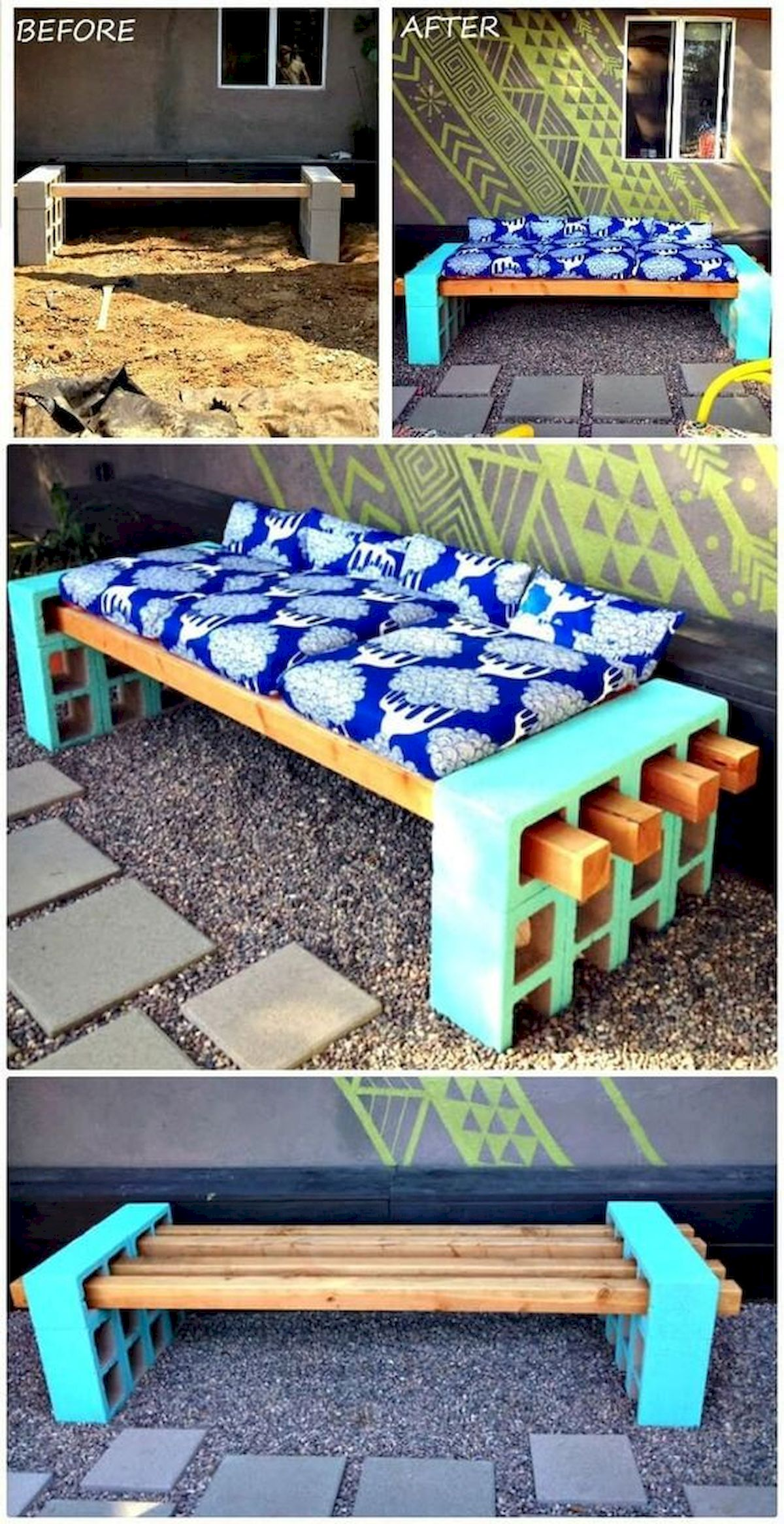 40 Awesome DIY Outdoor Bench Ideas For Backyard And Front Yard Garden (26)