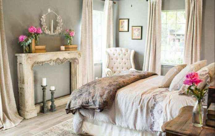 0-pastel-pink-gray-vintage-style-bedroom-candlesticks-candles-flowers-arm-chair-two-windows-curtains-bed-romantic-aged-interior-design-faux-fireplace-ideas | Идеи фальш-каминов: создание, декорирование и начинка