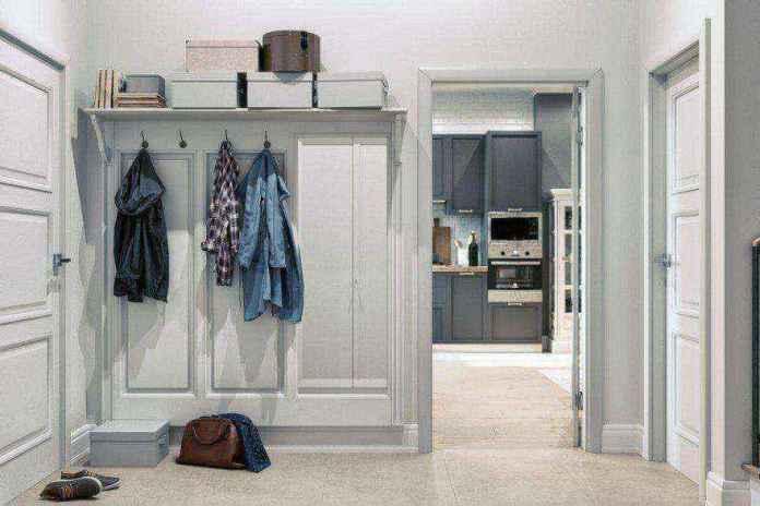 1-2-hallway-entrance-hall-mudroom-modern-light-scandinavian-style-interior-white-gray-coat-rack-shoe-box-shelves-doors-kitchen-entrance | Стильный таунхаус с дизайном в смешанном стиле в Подмосковье