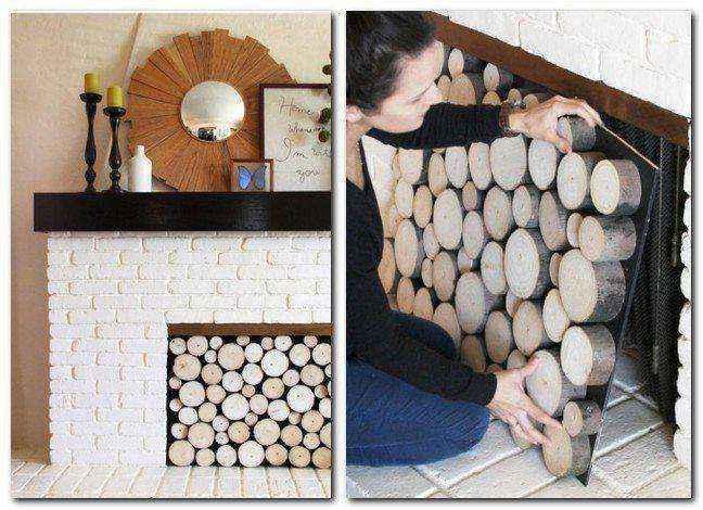 2-2-handmade-faux-brick-wall-tiles-facing-white-painted-wood-cross-sections-tree-cut-home-decor-interior-faux-fireplace-ideas | Идеи фальш-каминов: создание, декорирование и начинка