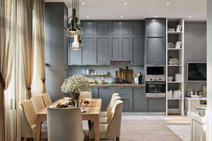 2-2-modern-light-scandinavian-style-interior-open-plan-concept-living-room-dining-room-kitchen-gray-beige-cabinets-tv-set-lounge-dining-table-chairs | Стильный таунхаус с дизайном в смешанном стиле в Подмосковье