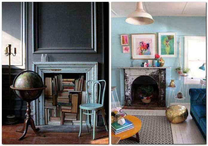 2-3-handmade-vintage-style-blue-aged-wooden-surround-planks-books-storage-faux-fireplace-ideas | Идеи фальш-каминов: создание, декорирование и начинка