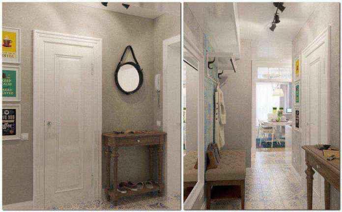 2-light-grayish-blue-studio-apartment-interior-design-in-modern-style-hallway-entrance-hall-console-table-shoe-bench-coat-rack-round-mirror-white-entrance-door-track-lights | Как сделать удобной студию площадью всего лишь 25 квадратных метров? Узкая и маленькая студия
