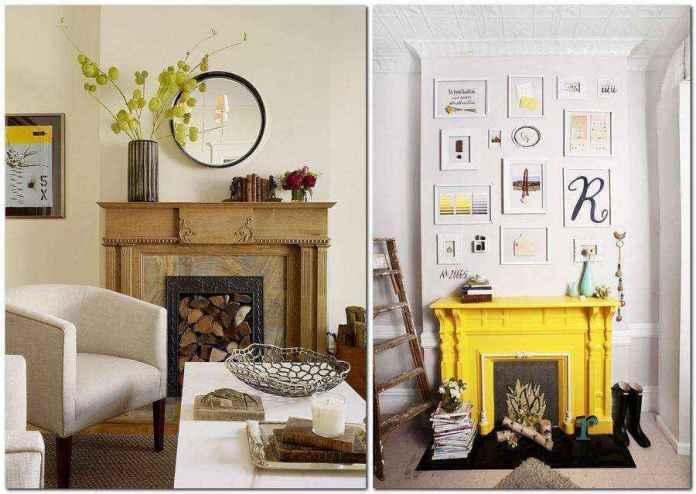 3-3-bright-yellow-accent-firewood-faux-fireplace-ideas | Идеи фальш-каминов: создание, декорирование и начинка