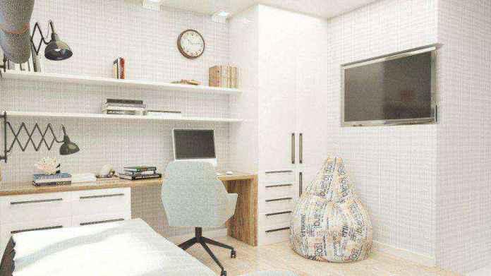 4-2-teenage-boy-bedroom-interior-design-light-gray-brown-white-walls-study-area-desk-built-in-shelves-tv-set-bean-bag-chair-wardrobe | Кровати с подиумом в дизайне интерьера: 5 реальных проектов в деталях