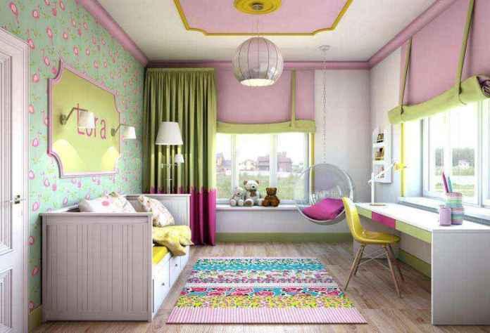 4-light-pink-school-girls-kids-room-interior-with-yellow-accents-white-furniture-desk-bed-carpet-two-windows-roman-blinds-ceiling-swing-chair-moldings-1 | Спальня для девочки ученицы начальных классов