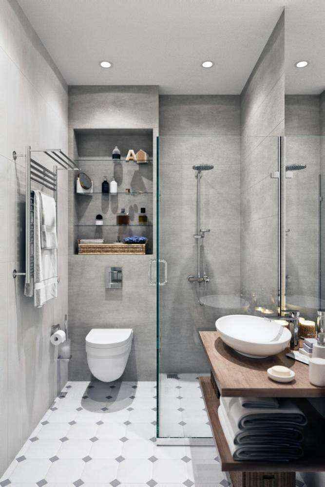 5-1-modern-light-gray-white-scandinavian-style-interior-bathroom-shower-cabin-walk-in-wall-mounted-toilet-wc-towel-drying-radiator-built-in-shelves-top-mounted-sink-wash-basin-wooden-countertop | Стильный таунхаус с дизайном в смешанном стиле в Подмосковье