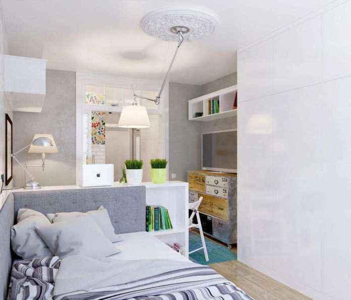 5-light-grayish-blue-studio-apartment-interior-design-in-modern-style-bed-white-built-in-closet-floor-lamp-pendant-lamp-by-artemide-with-flexible-lighting-arm-rod-lounge-area-tv-set-dining-table | Как сделать удобной студию площадью всего лишь 25 квадратных метров? Узкая и маленькая студия