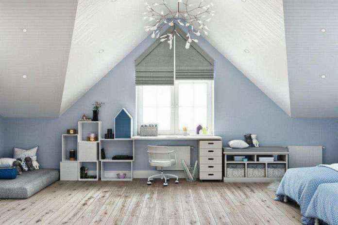 6-1-modern-light-blue-gray-white-scandinavian-style-interior-kids-room-girls-attic-floor-sloped-ceiling-bedroom-parquet-floor-geometrical-shelves-desk-chest-of-drawers-two-beds-mattress-roman-blinds | Стильный таунхаус с дизайном в смешанном стиле в Подмосковье