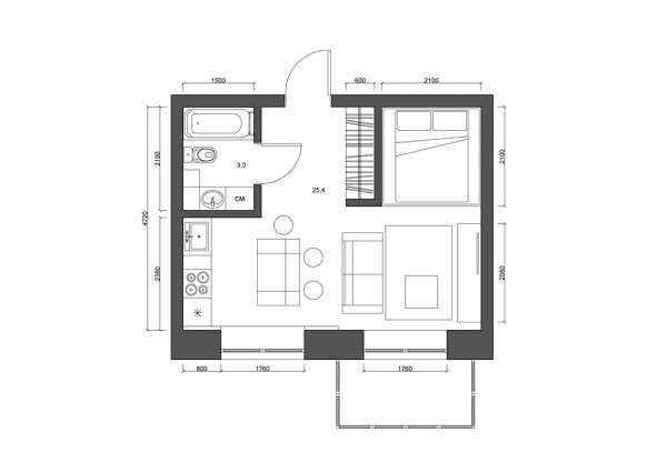 image8-52   Дизайн квартиры площадью 29 квадратных метров  в стиле минимализм
