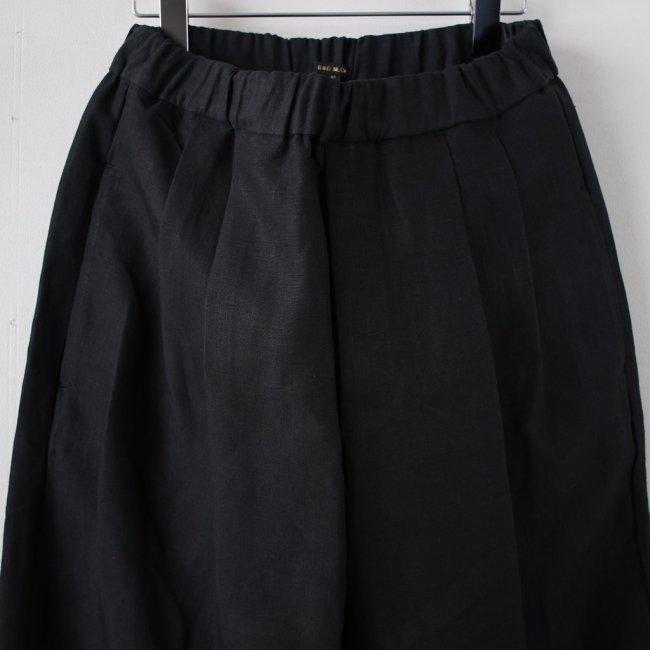 高密度LINEN WIDE TAPERED GOM PANTS #black
