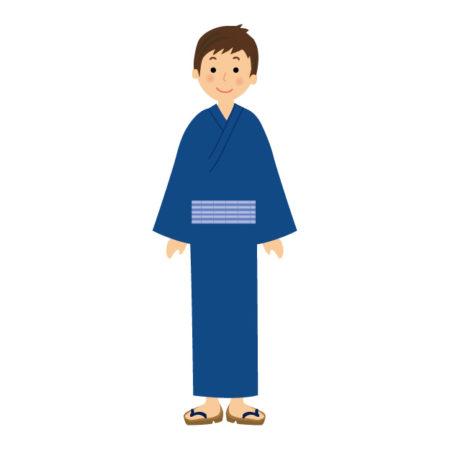 紺色の浴衣を着た若い男性