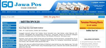 Susu Sapi di Jawa Pos