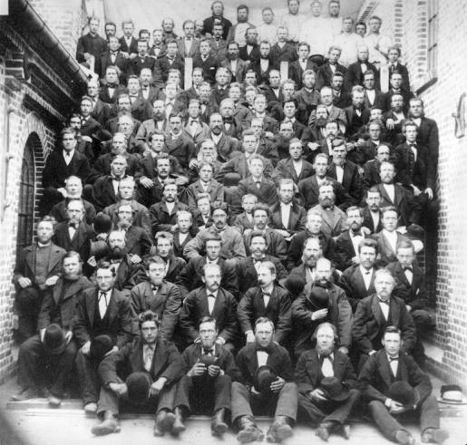 Unionarbeidere ca 1875. Riksarkivet (Pa 1422 Union Co).