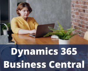 Woman working with Dynamics 365 Business central solution from Microsoft implemented by Dokumentive