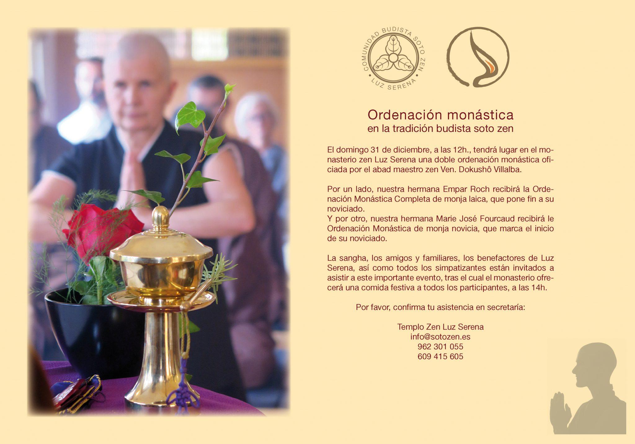 Ordenación monástica en la tradición budista soto zen