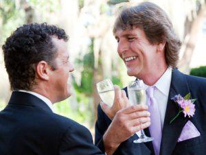 Gay Couple Toast Their Marriage