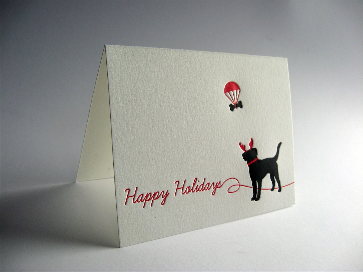 Black Lab Letterpress Holiday Card Dolce Press