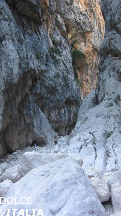 Huge boulders and high walls of Gorropu canyon