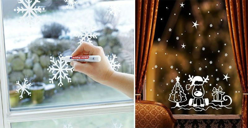 Draw snowflakes on gouache windows