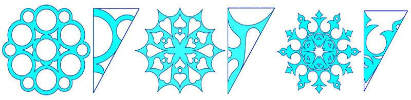 Templates for cutting paper snowflakes