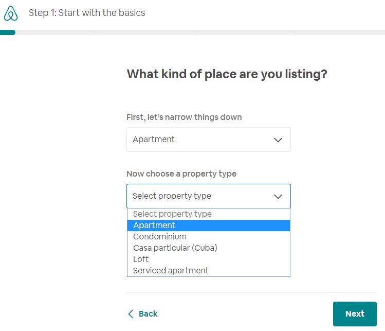 create aribnb listing