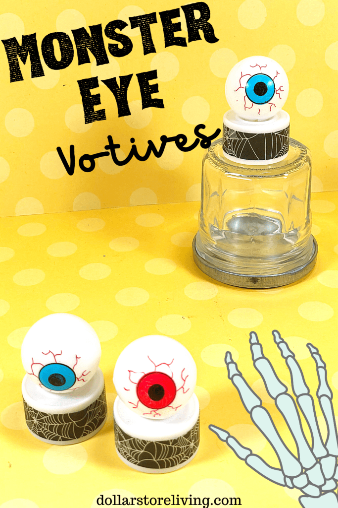 Title image for DIY Dollar Store Halloween Monster Eye Votives