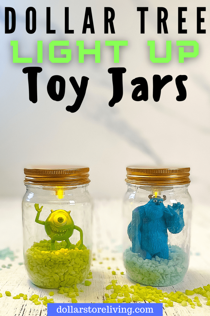Title image with light up craft jars with Dollar Tree Light Up Toy Jars with Mike and Sully