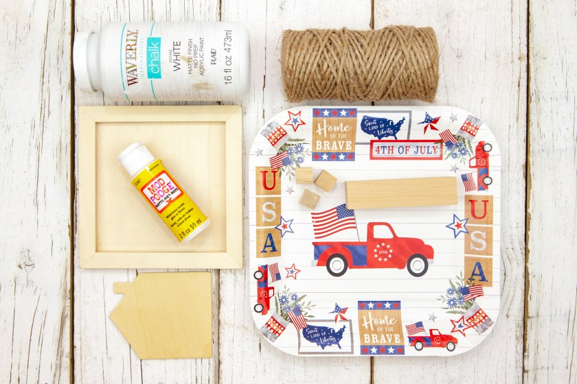 Supplies for the 4th of July Patriotic Truck Home Decor