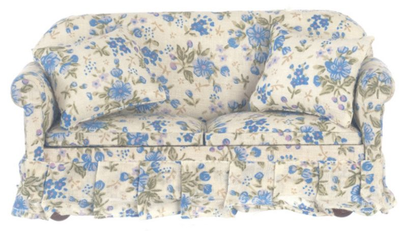 Blue Floral Sofa WTwo Pillows By Town Square Miniatures