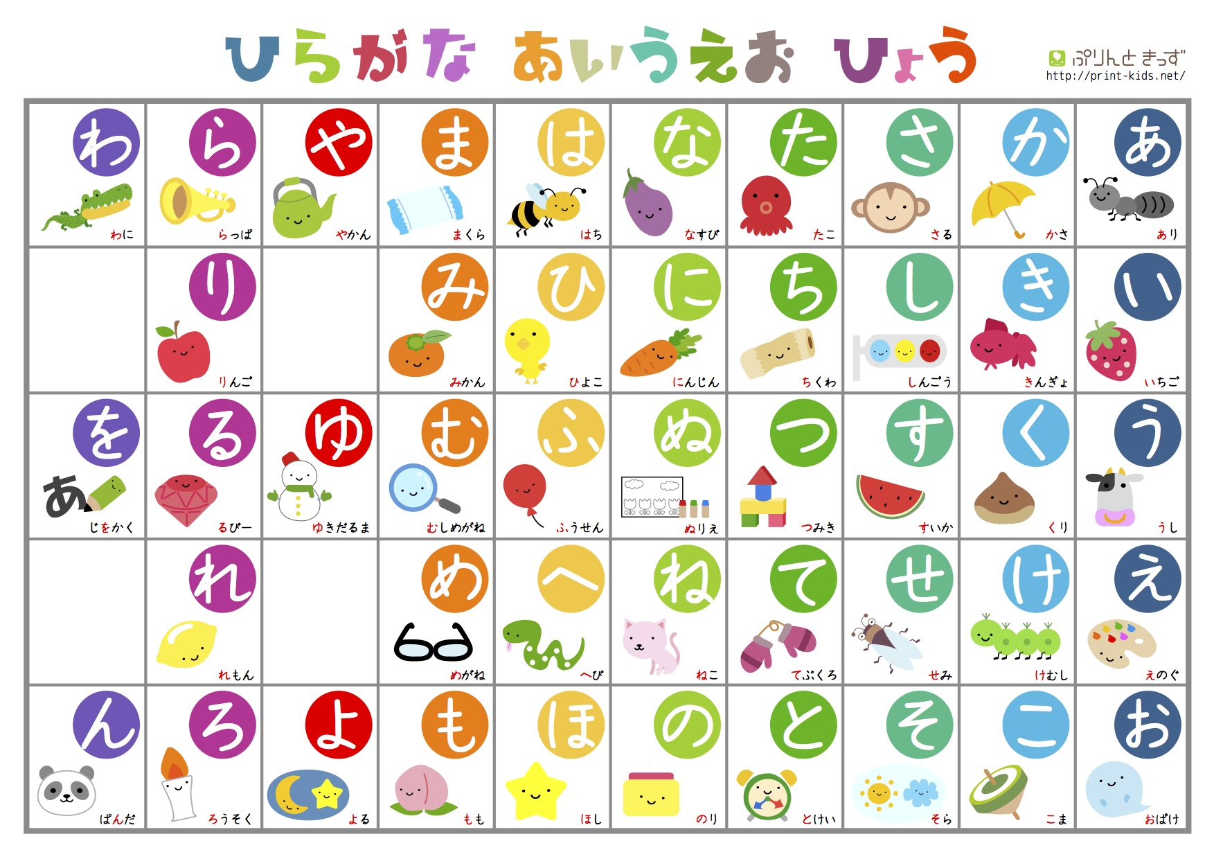 Print Hiragana Worksheet