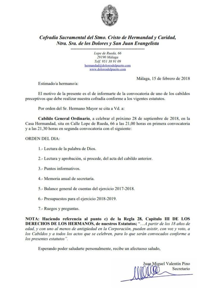 Convocatoria Cabildo 2018