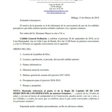 Recordatorio de convocatoria de Cabildo General Ordinario