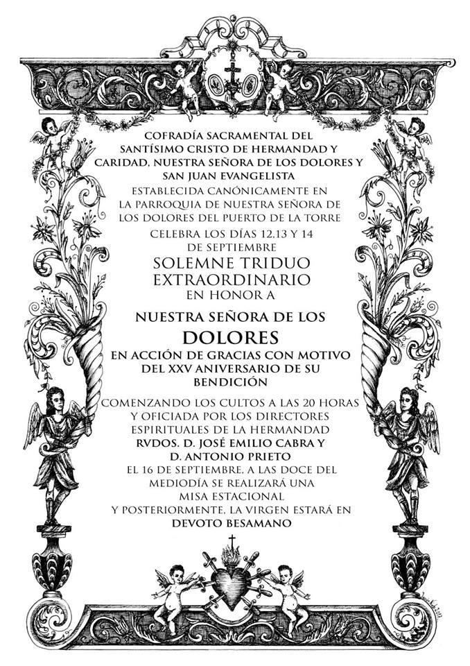 Cartel anunciador triduo Dolores