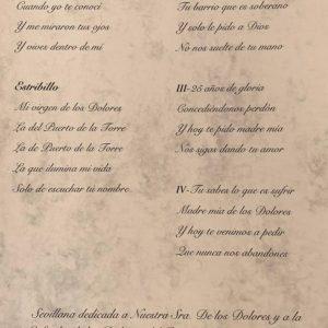 """Letra de la sevillana """"Virgen de los Dolores"""", del grupo Esperanza Malagueña"""