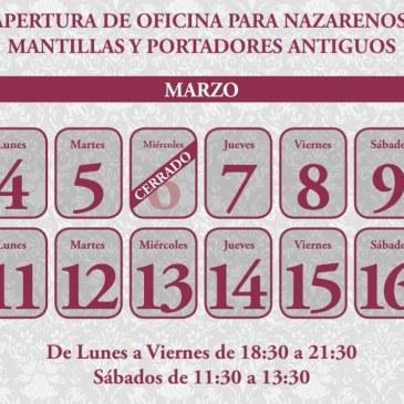 Fechas y horario de apertura de la oficinas para inscribirse en el cortejo procesional de 2019