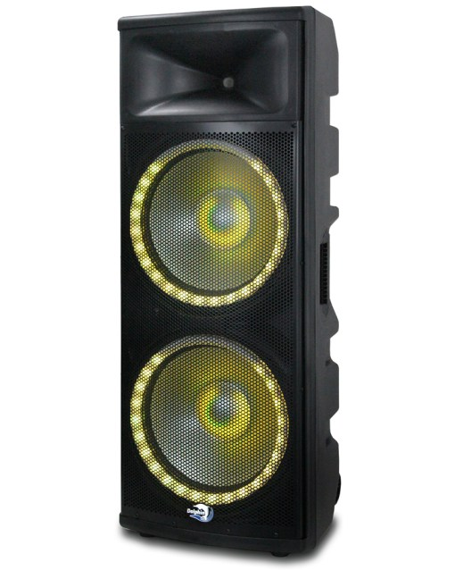 Professional DJ speaker with yellow light