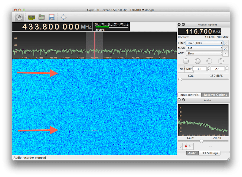 Screenshot from GQRX showing signals