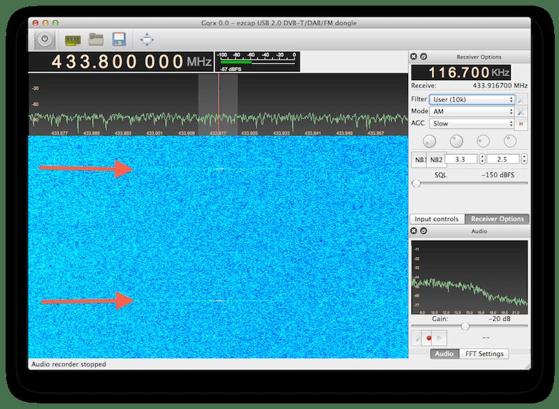 Screenshot from GQRX showing signals