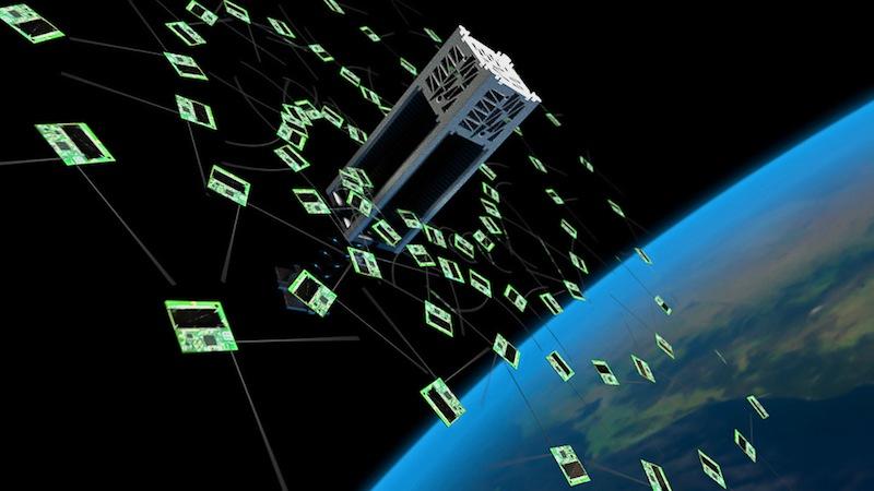 Rendering of the KickSat Sprites being deployed