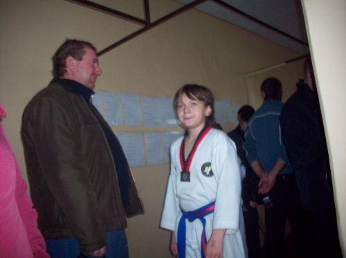 Папа с сыном перед соревнованиями