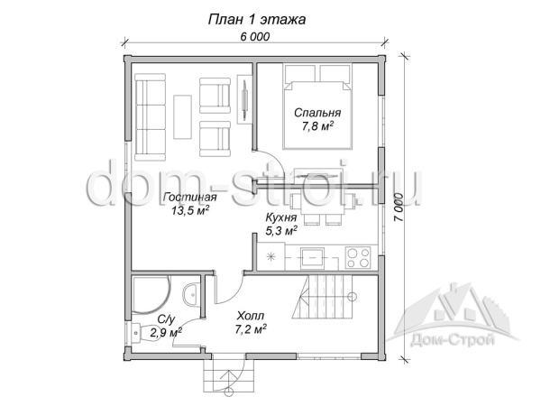 Проект: Дом 6 на 7 с мансардой. 64 м2 – цена ...