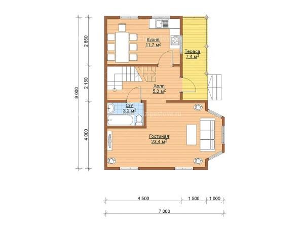 Проект двухэтажного дома из бруса 7х9 «Второе» с балконом ...
