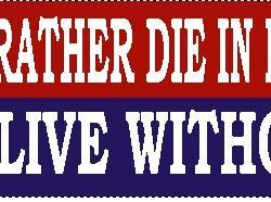 I Would Rather Die in Freedom Than Live Without It Bumper Sticker