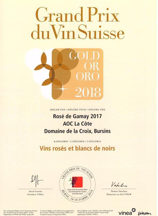 Grand prix du Vin Suisse Rosé de Gamay médaille d'or
