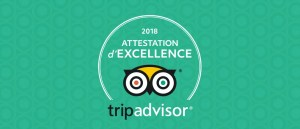 Attestation TripAdvisor 2018 pour le Domaine des Vaulx